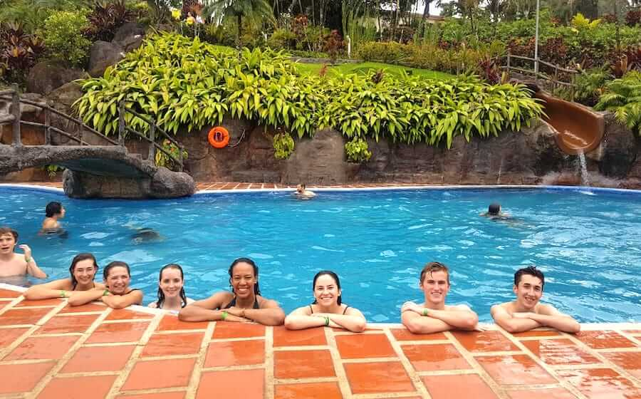 teen spanish camp swmming trip in Costa Rica