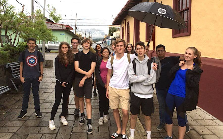 Group of teens in Heredia on the Teen Spanish Camp in Costa Rica